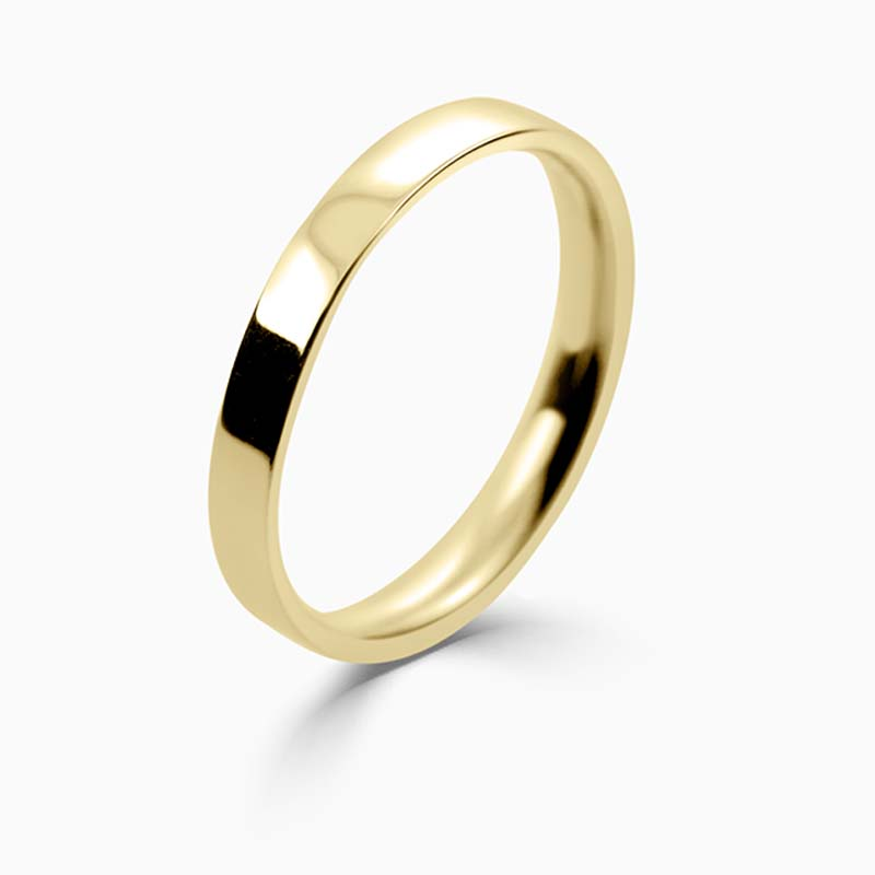 18ct Yellow Gold 2.5mm Flat Court Light Weight Wedding Ring