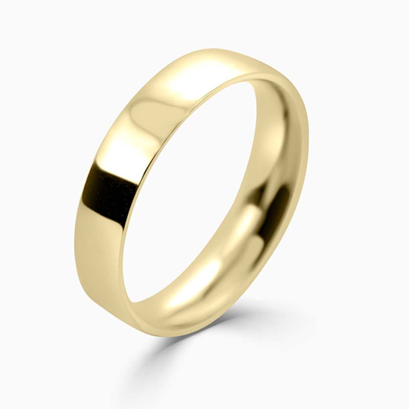 18ct Yellow Gold 4mm Flat Court Light Weight Wedding Ring