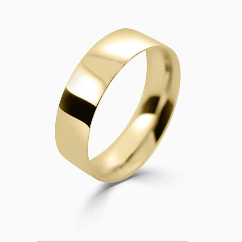 18ct Yellow Gold 6mm Flat Court Light Weight Wedding Ring