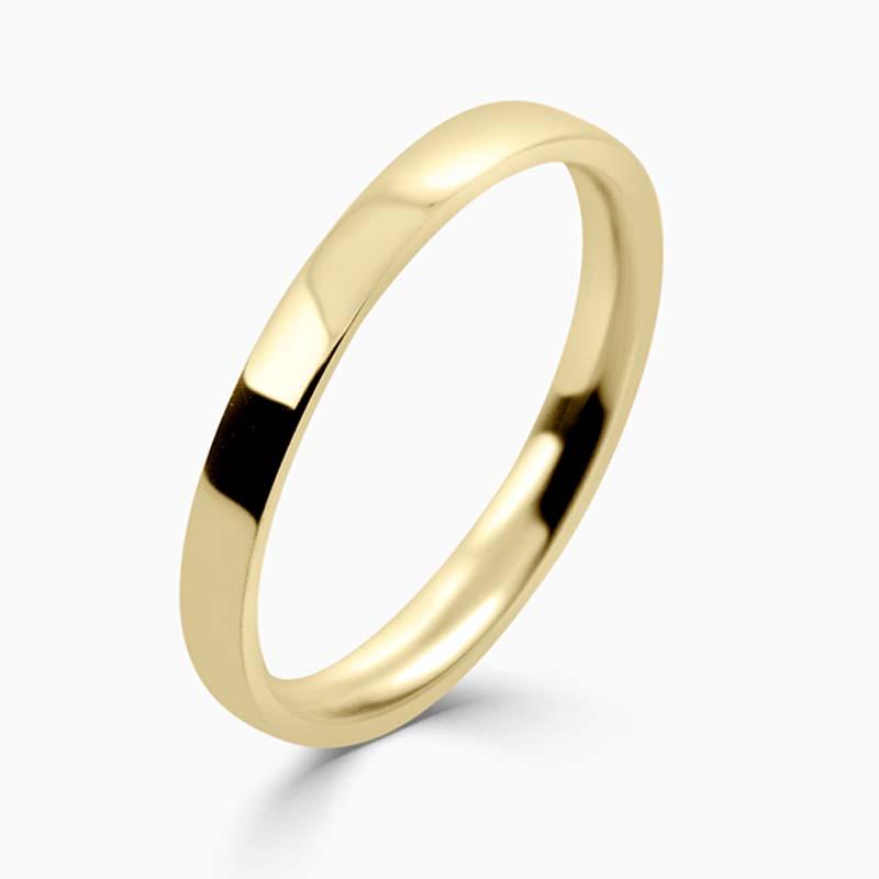 18ct Yellow Gold 2mm Flat Court Light Weight Wedding Ring