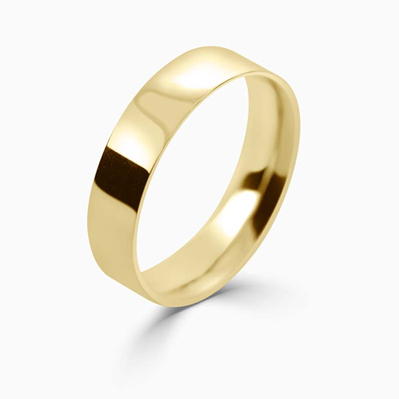 18ct Yellow Gold 5mm Flat Court Light Weight Wedding Ring