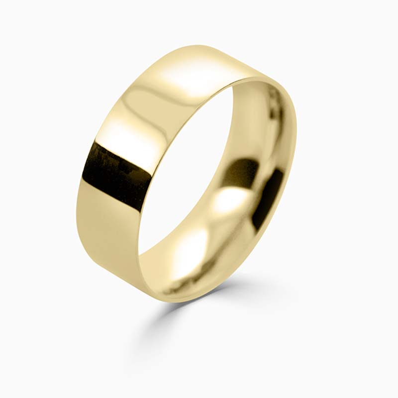 18ct Yellow Gold 7mm Flat Court Light Weight Wedding Ring