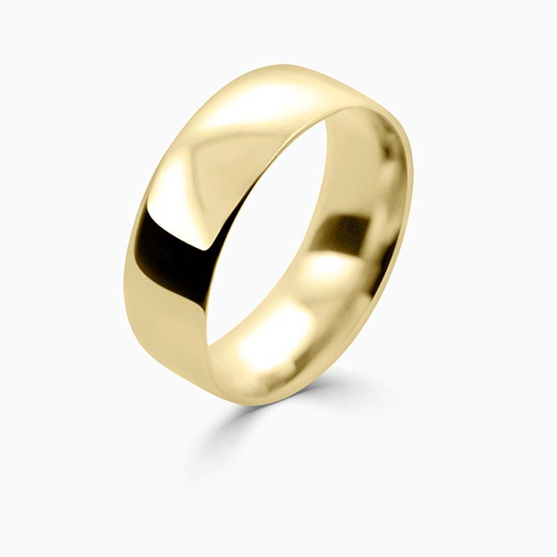 18ct Yellow Gold 7mm Court Shaped Light Weight Wedding Ring