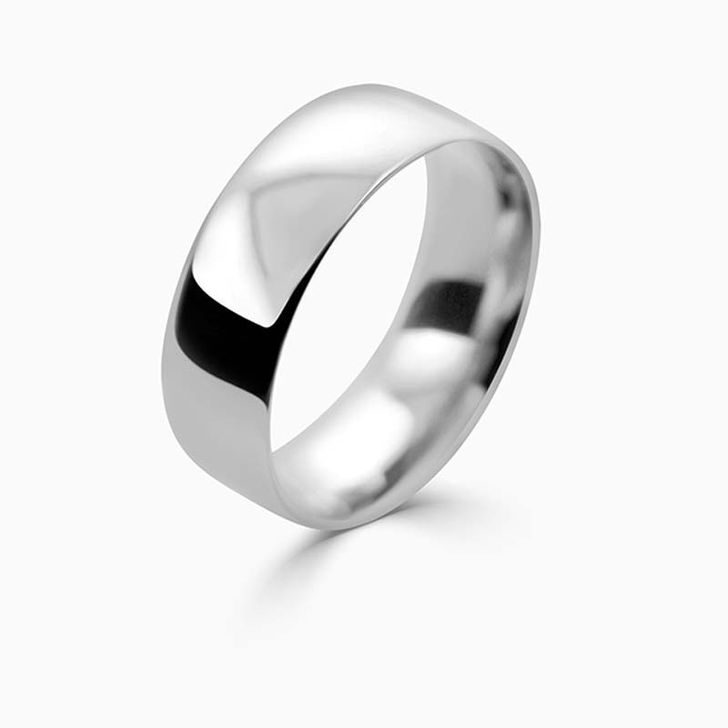 Platinum 7mm Court Shaped Light Weight Wedding Ring