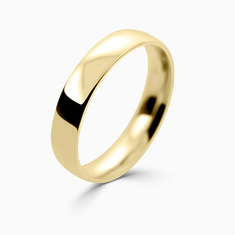 18ct Yellow Gold 4mm Court Shaped Light Weight Wedding Ring