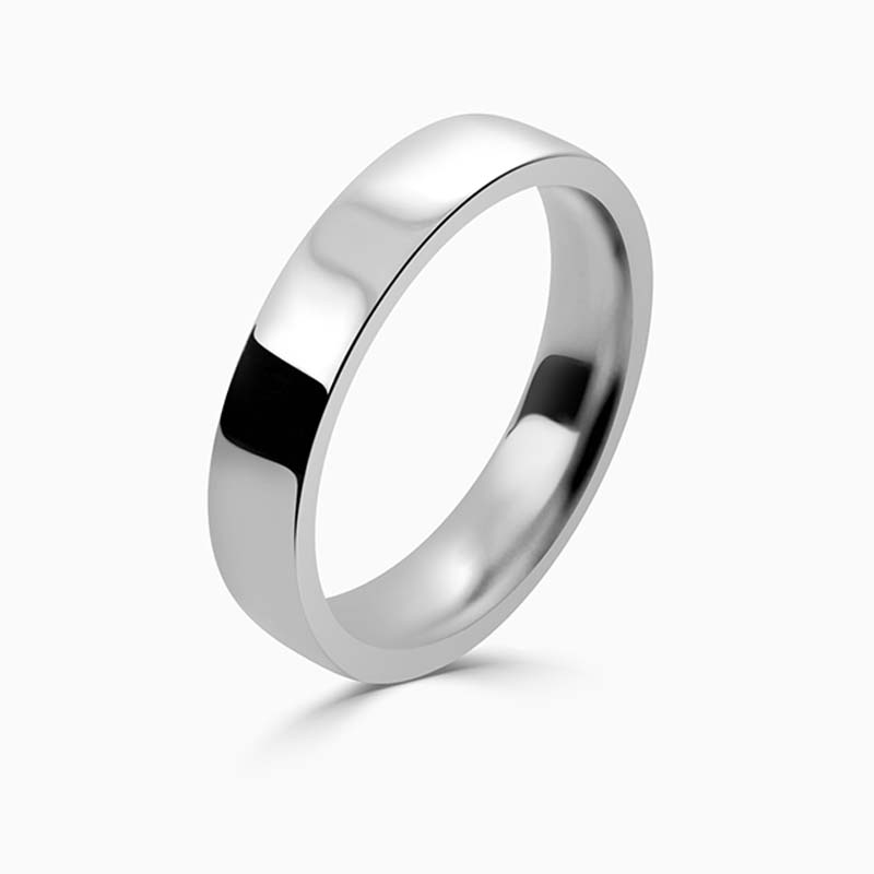 Platinum 4mm Flat Court Flat Edge Medium Weight Wedding Ring