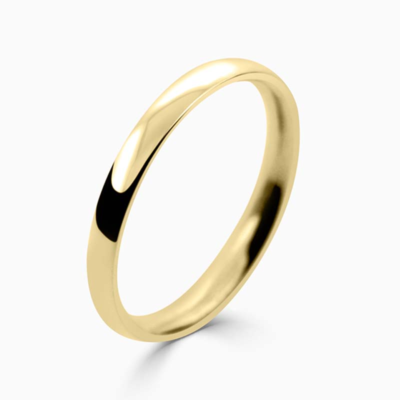 18ct Yellow Gold 2mm Court Shaped Light Weight Wedding Ring