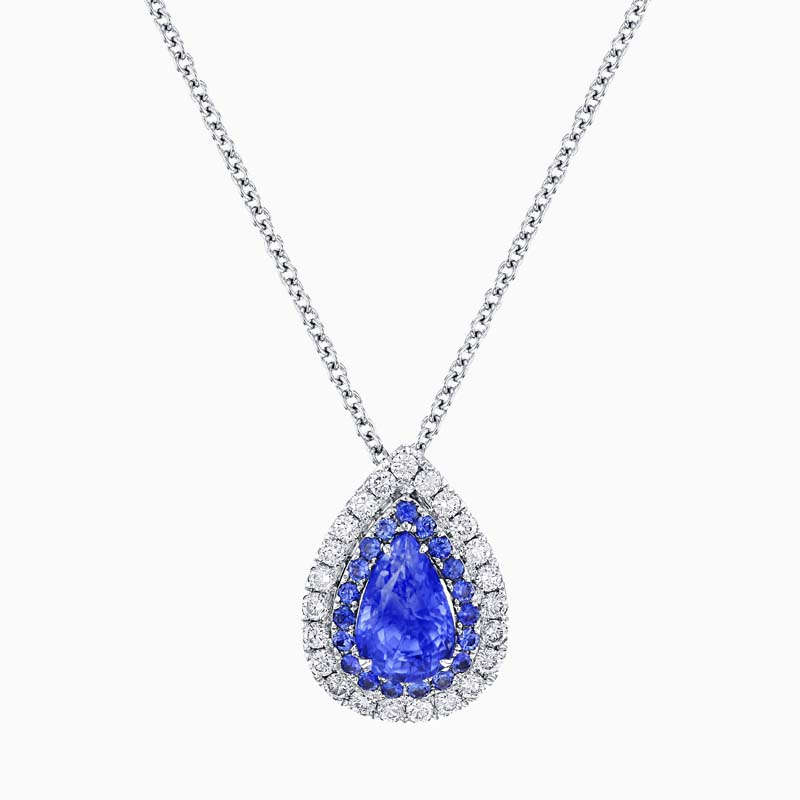 [PDP1872] Pear Shape Sapphire and Diamond Double Halo Pendant and Chain