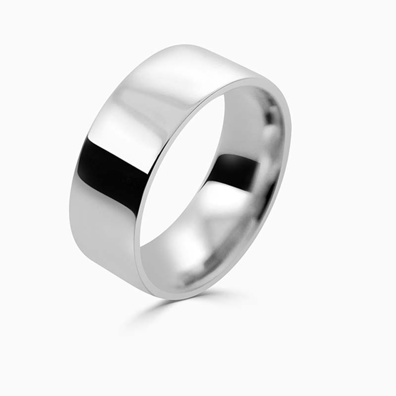 Platinum 8mm Flat Court Flat Edge Medium Weight Wedding Ring