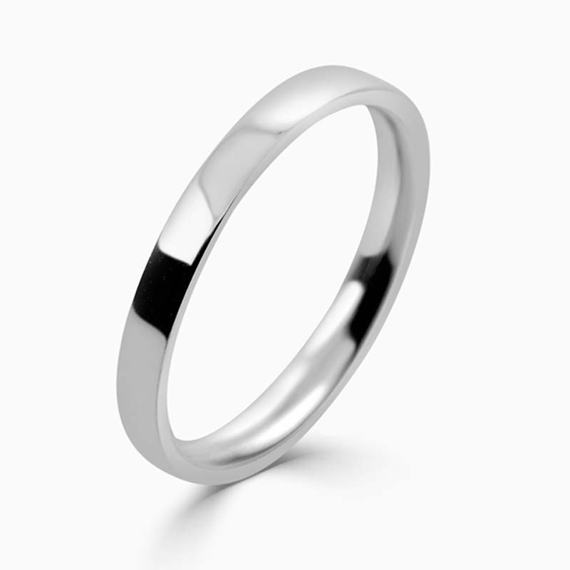 Platinum 2mm Flat Court Light Weight Wedding Ring