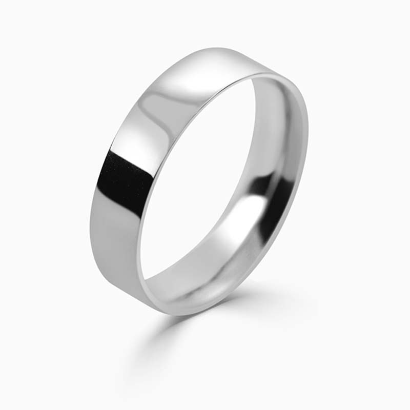 Platinum 5mm Flat Court Light Weight Wedding Ring