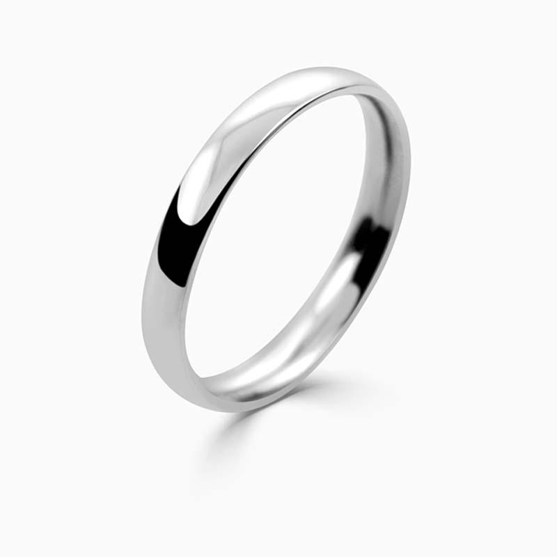 Platinum 2.5mm Court Shaped Light Weight Wedding Ring