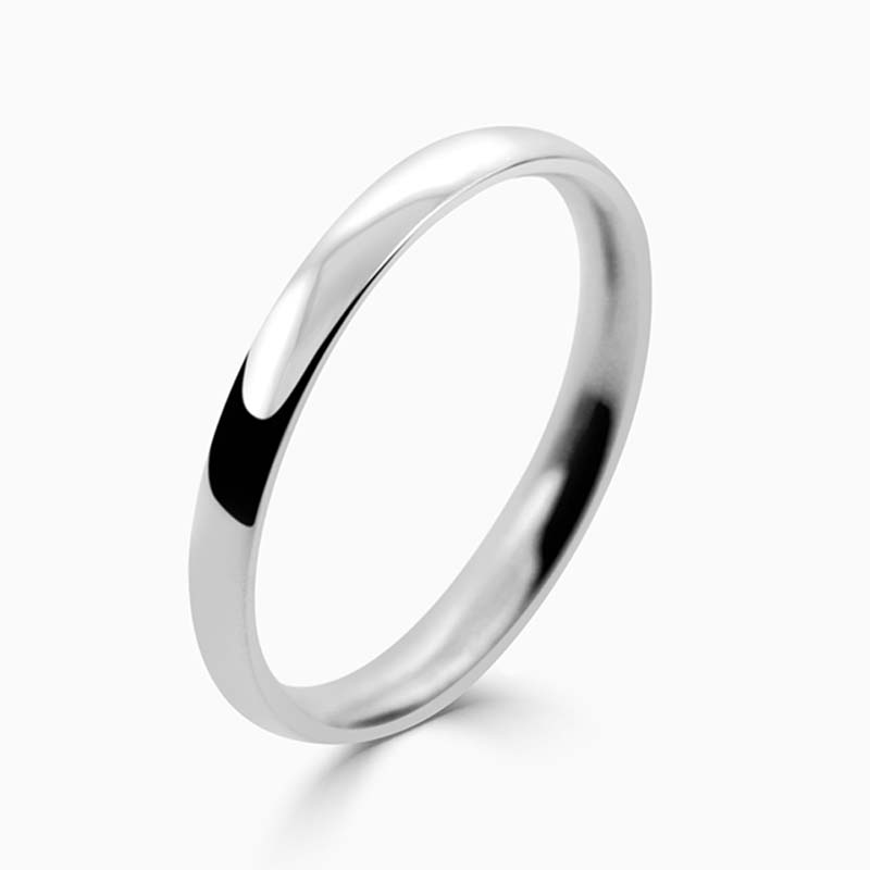 Platinum 2mm Court Shaped Light Weight Wedding Ring