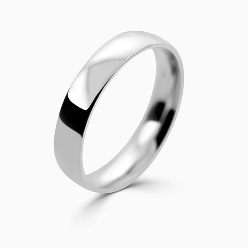 Platinum 4mm Court Shaped Light Weight Wedding Ring