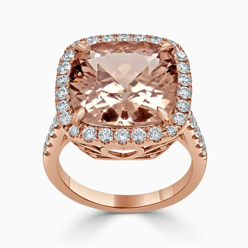 18ct Rose Gold Morganite Cushion Cut & Diamond Halo Ring