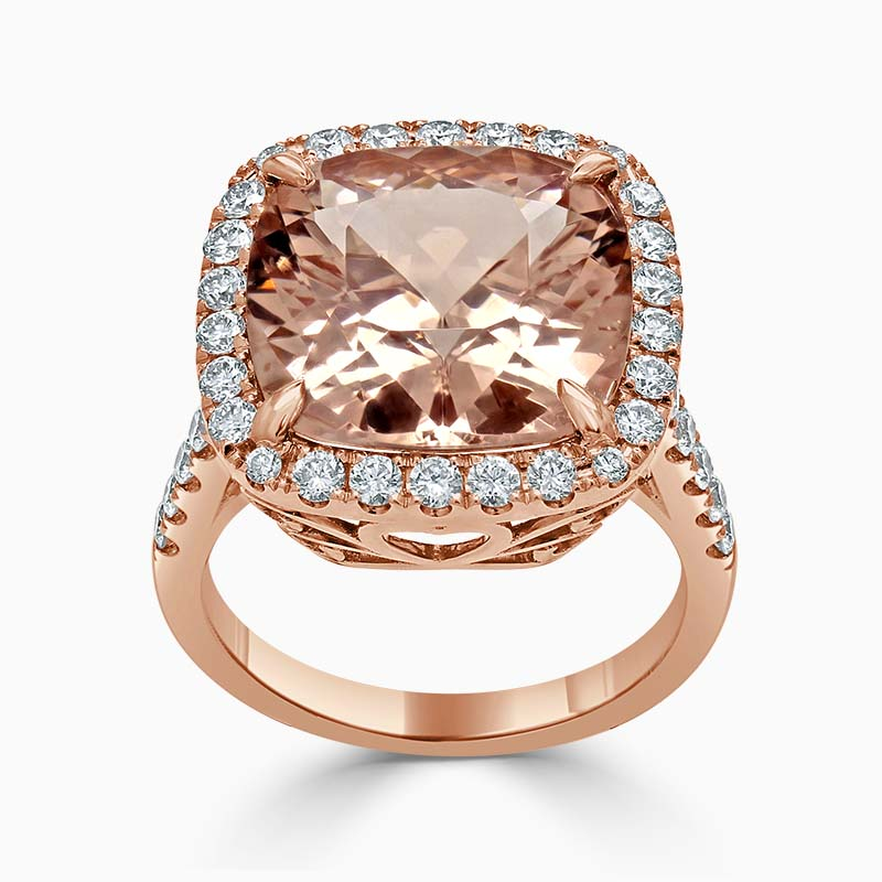 18ct Rose Gold Morganite Cushion Cut & Diamond Halo Ring