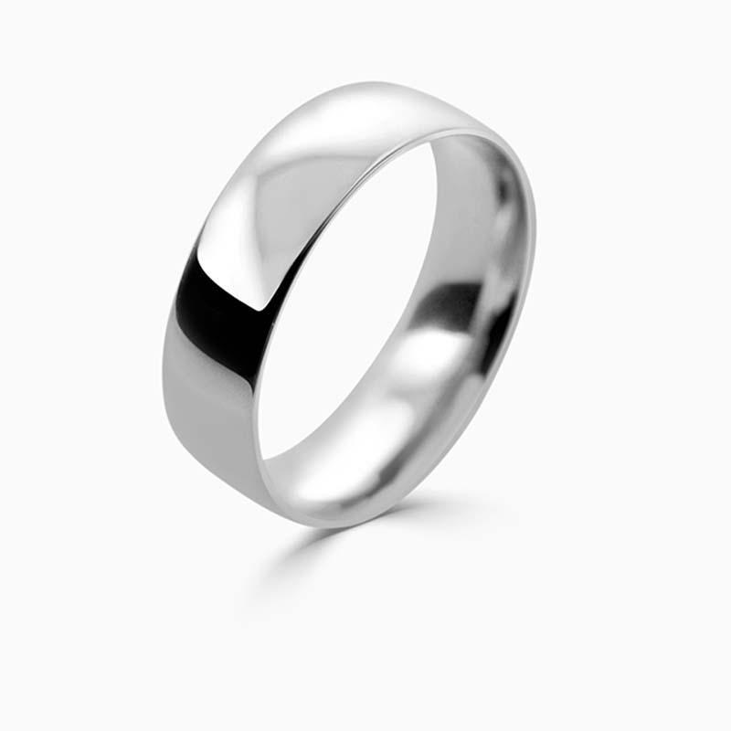 Platinum 6mm Court Shaped Light Weight Wedding Ring
