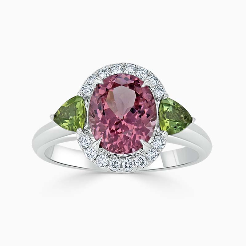 18ct White Gold Oval Pink Spinel & Tourmaline Ring