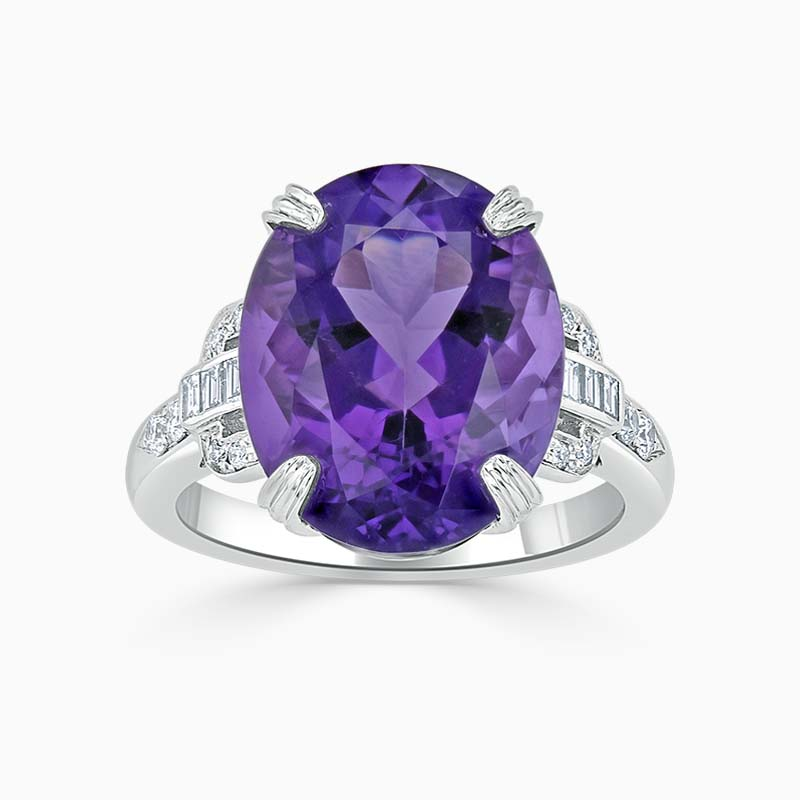 18ct White Gold Oval Amethyst & Diamond Ring