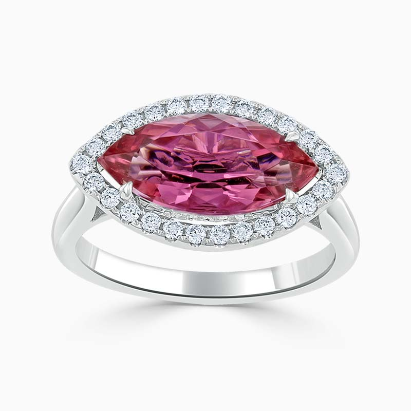 18ct White Gold Marquise Pink Tourmaline & Diamond Halo Ring