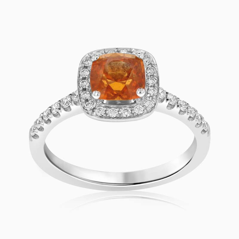 18ct White Gold Cushion Cut Orange Sapphire and Diamond Pavé Halo Ring