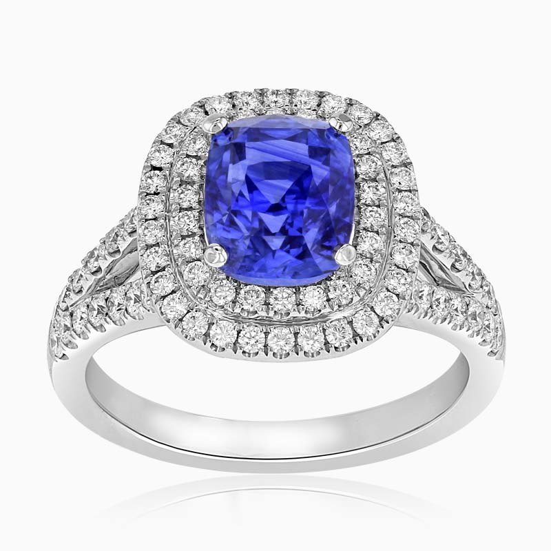 18ct White Gold Blue Sapphire and Diamond Double Halo Ring