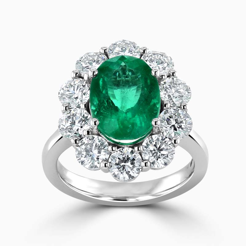18ct White Gold Oval Emerald and Diamond Cluster Ring