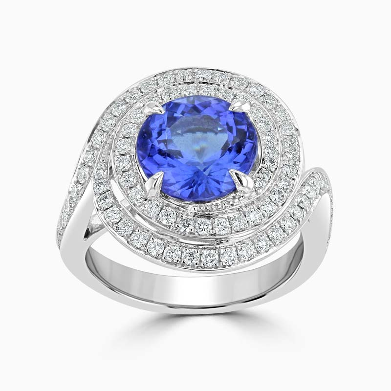 18ct White Gold Round Tanzanite and Diamond Spiral Ring