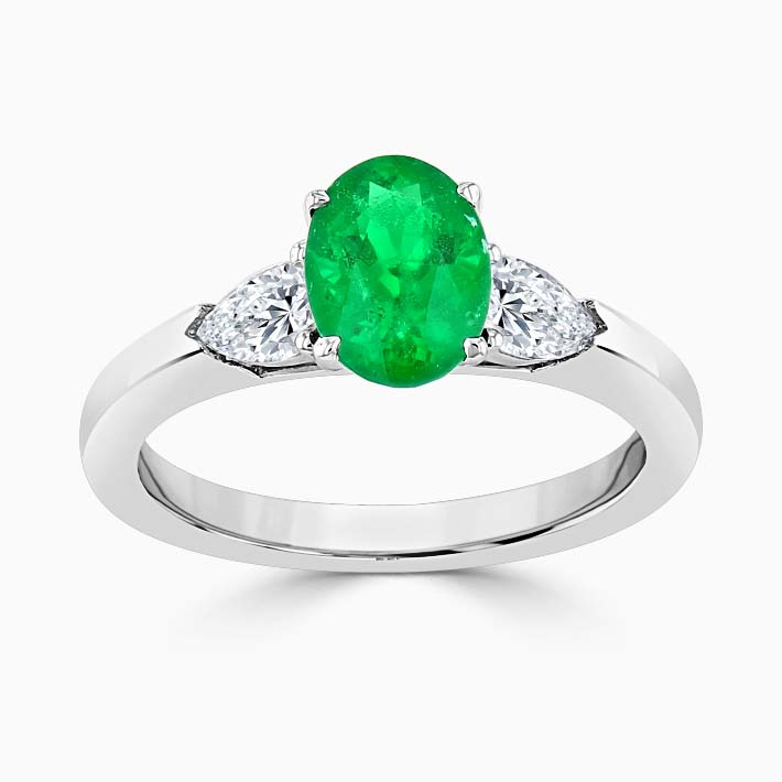 18ct White Gold Oval Emerald & Pear Shape Diamond Ring