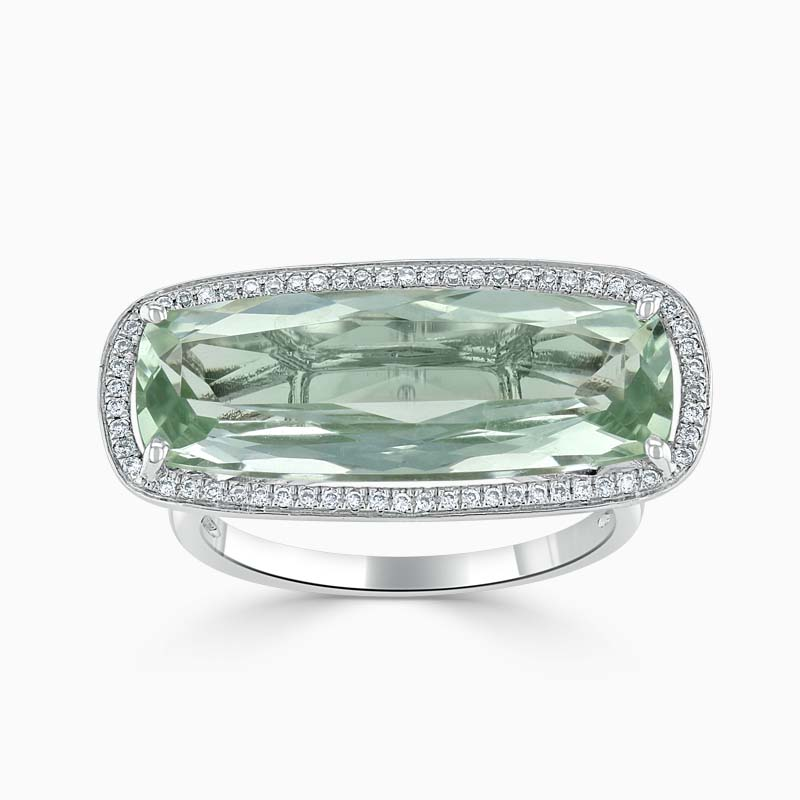 18ct White Gold Rectangular Prasiolite and Diamond Ring
