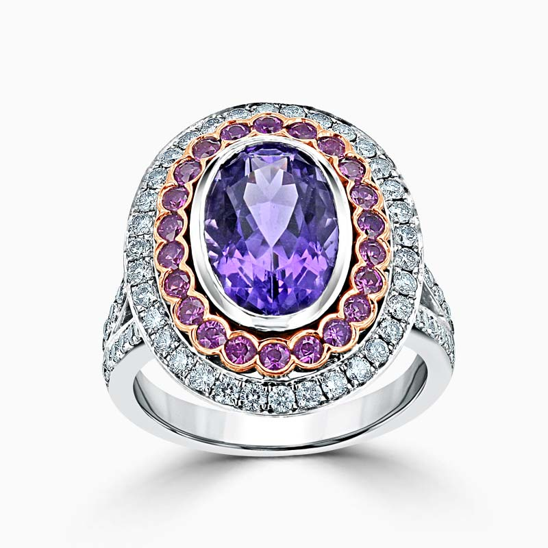 18ct White Gold Oval Cut Amethyst And Pink Sapphire Ring