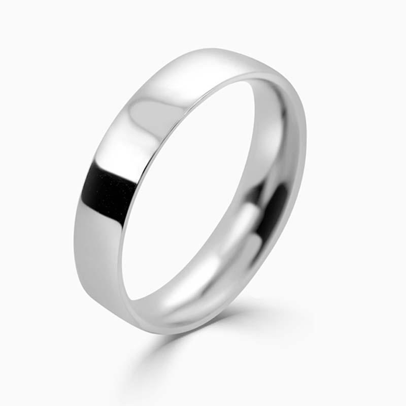Platinum 4mm Flat Court Light Weight Wedding Ring