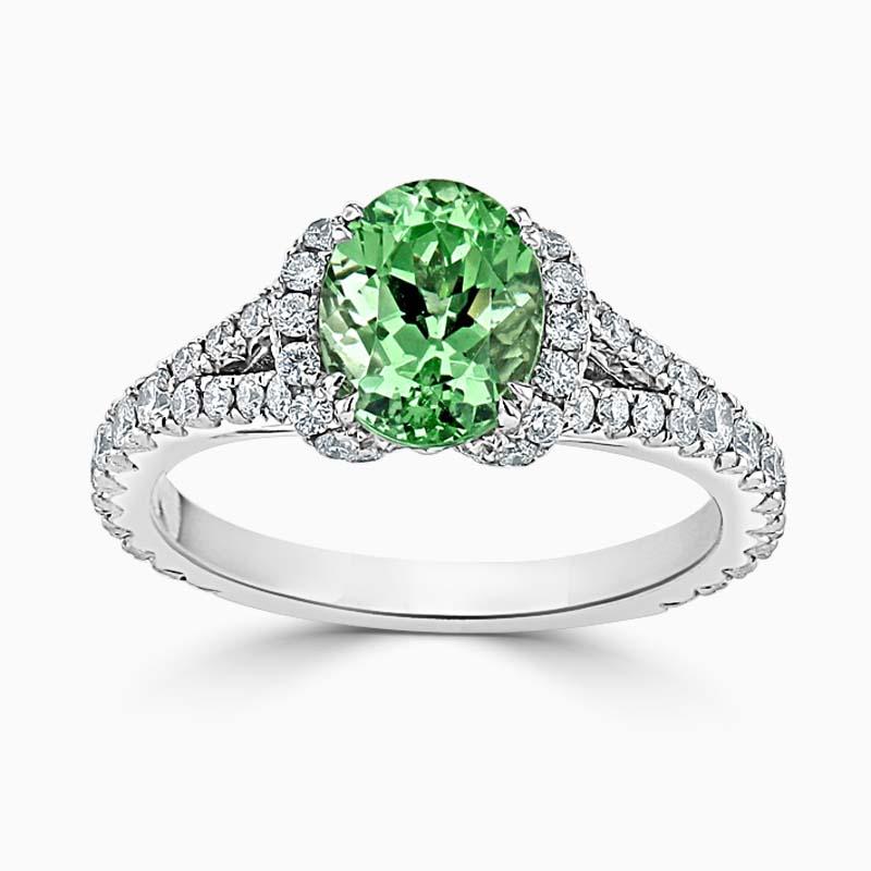 18ct White Gold Oval Mint Green Garnet and Diamond Dress Ring