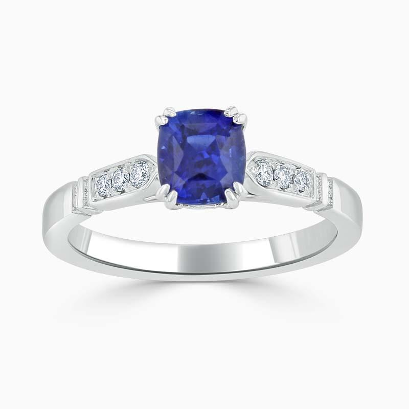 Platinum 950 Cushion Cut Sapphire & Diamond Set Ring