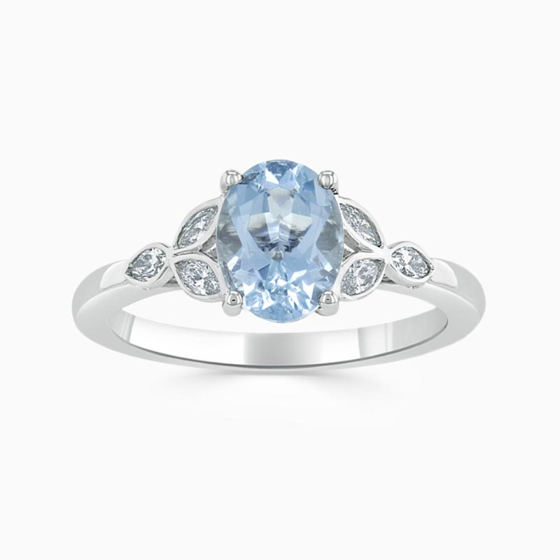 18ct White Gold Oval Shape Aquamarine & Diamond Leaf Design Shoulder Ring