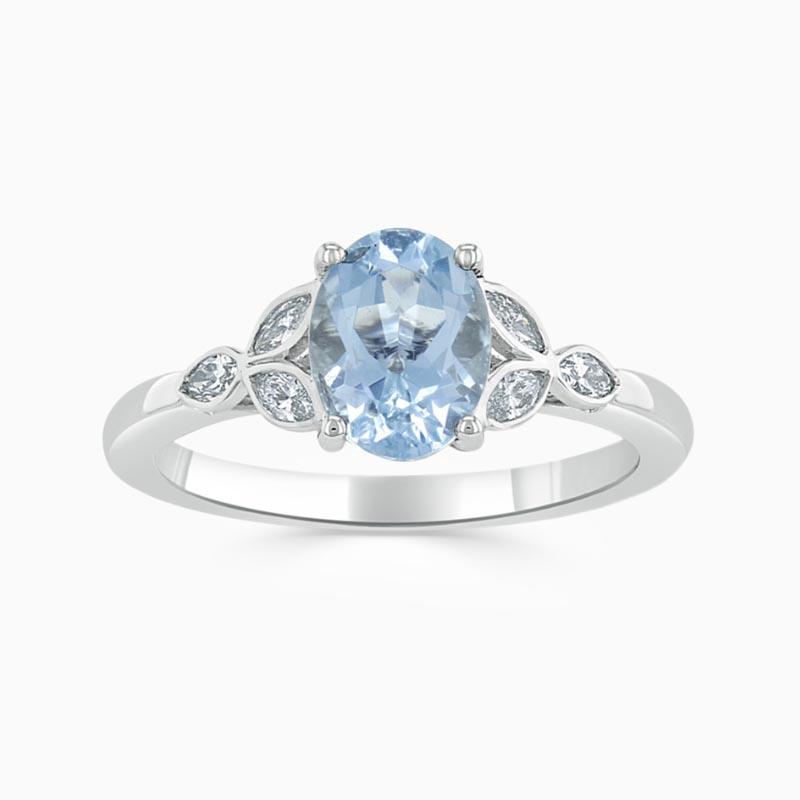 18ct White Gold Oval Shape Aquamarine & Diamond Leaf Design Shoulder Ring