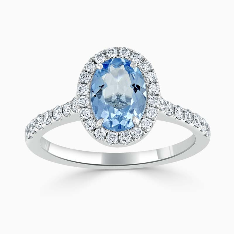 18ct White Gold Oval Aquamarine & Diamond Halo Ring