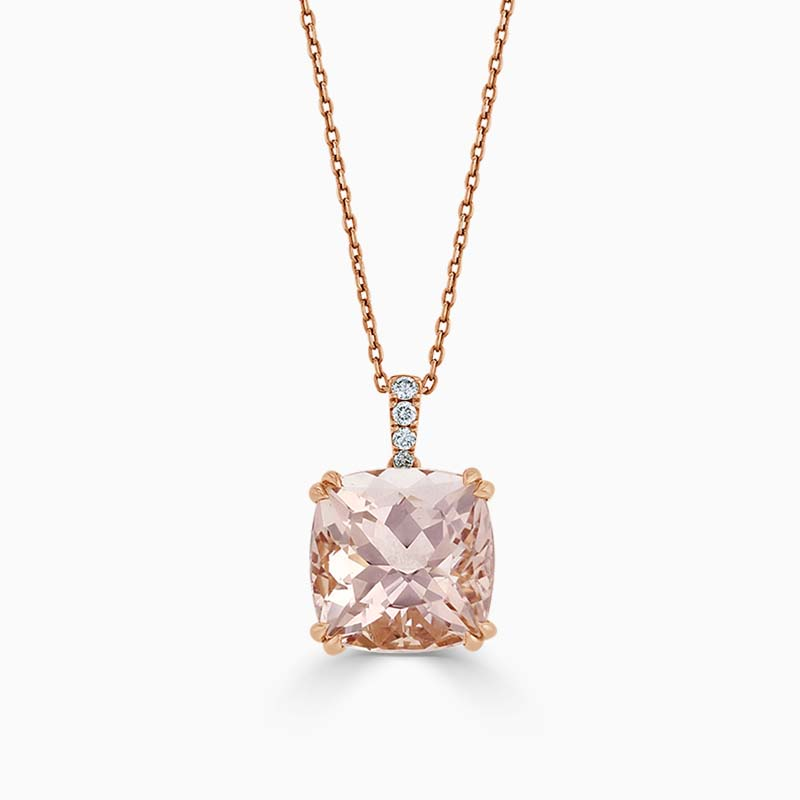 18ct Rose Gold Cushion Cut Morganite and Diamond Pendant