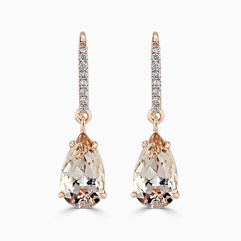 18ct Rose Gold Pear Shape Morganite & Diamond Drops