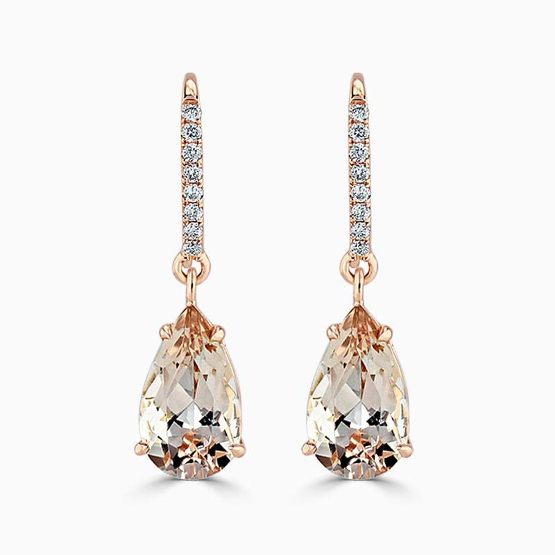 18ct Rose Gold Pear Shape Morganite & Diamond Drops