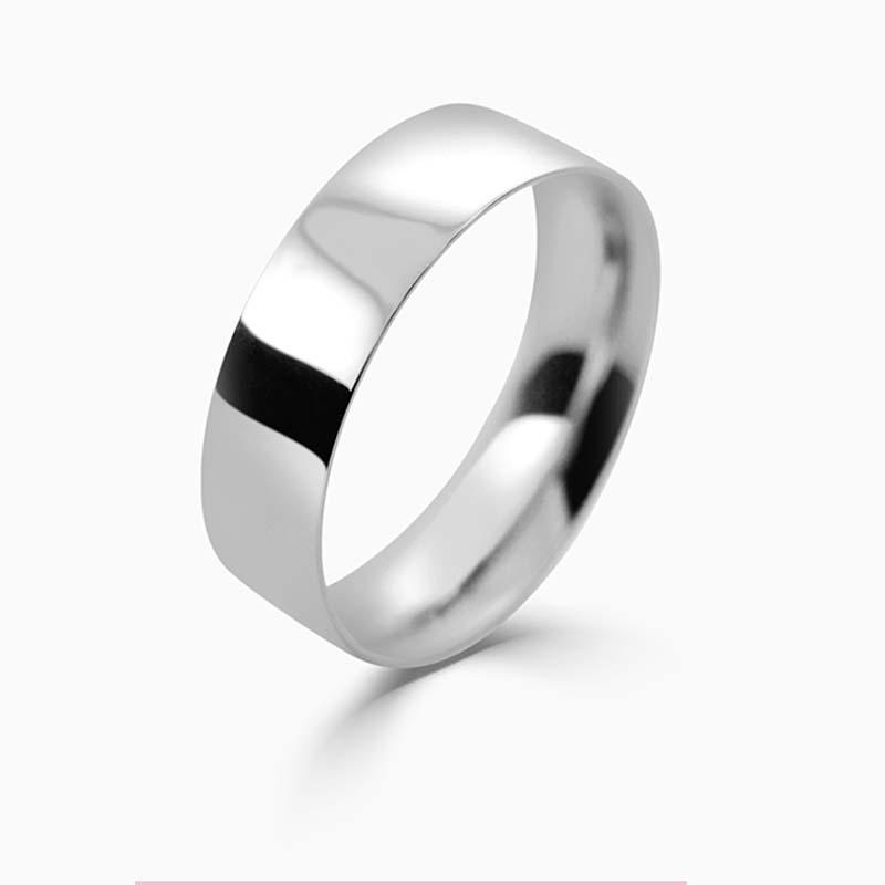 Platinum 6mm Flat Court Light Weight Wedding Ring