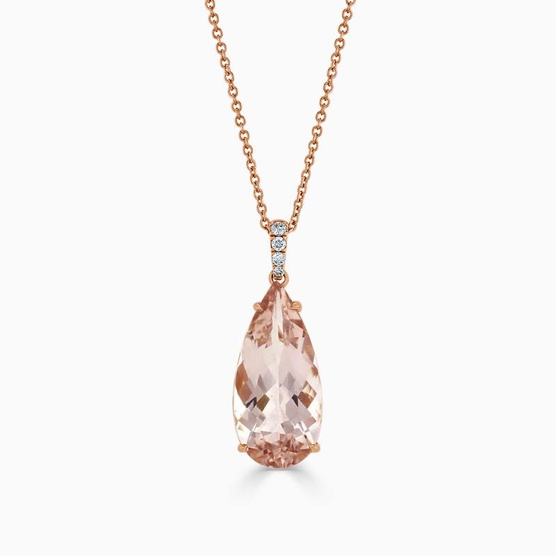 18ct Rose Gold Pear Shaped Morganite and Diamond Pendant