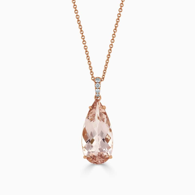 18ct Rose Gold Pear Shaped Morganite and Diamond Pendant