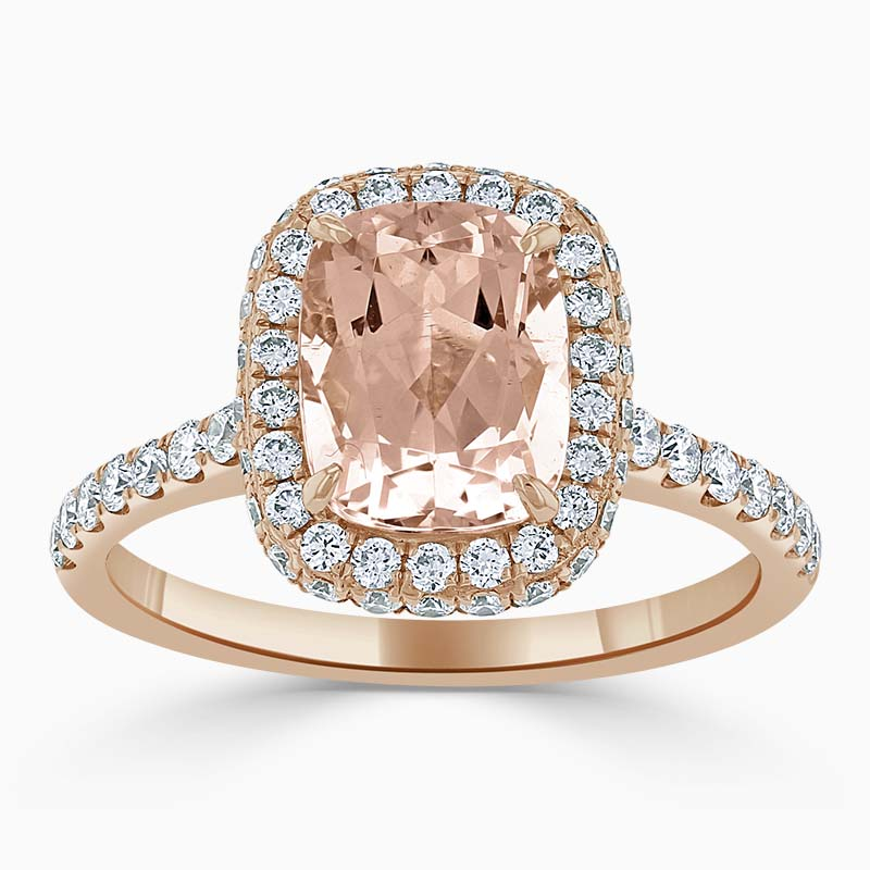 18ct Rose Gold Cushion Cut Morganite & Diamond Halo Ring