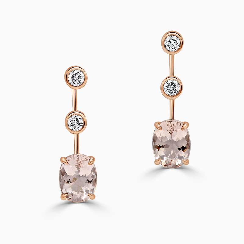 18ct Rose Gold Oval Morganite & Diamond Drop Earrings