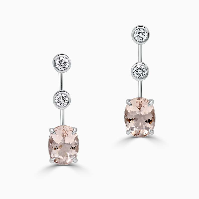 18ct White Gold Oval Morganite & Diamond Drop Earrings