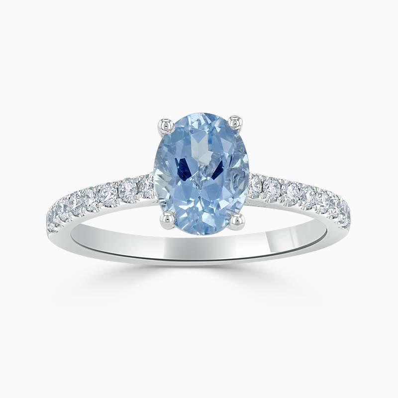 18ct White Gold Oval Shape Aquamarine & Diamond Cutdown Set Shoulder Ring
