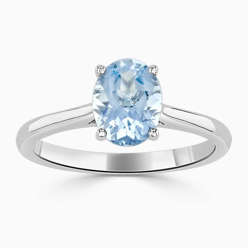 18ct White Gold Oval Shape Aquamarine 4 Claw Wedfit Ring