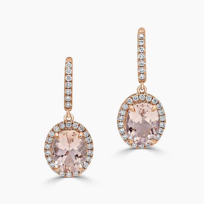 18ct Rose Gold Oval Morganite & Diamond Halo Drop Earrings