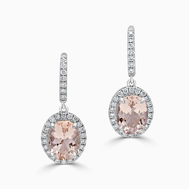 18ct White Gold Oval Morganite & Diamond Halo Drop Earrings